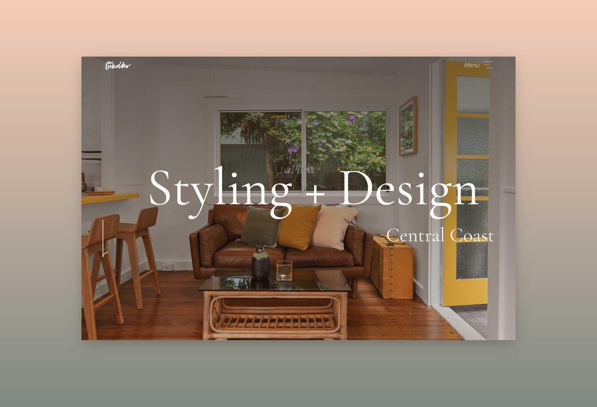 Interactive website design for The Beholder Styling + Design