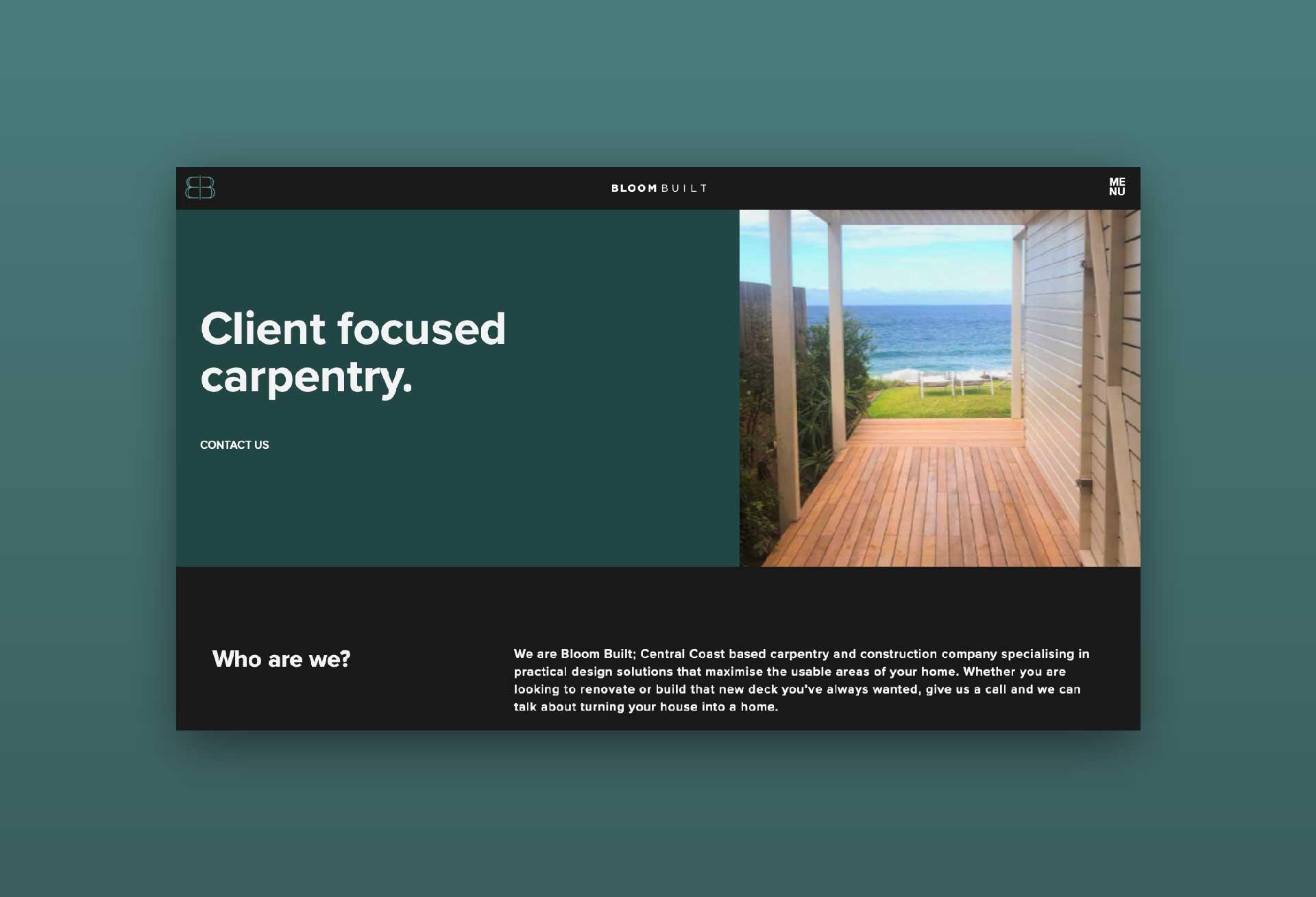 Premium website design for Bloom Built Carpentry