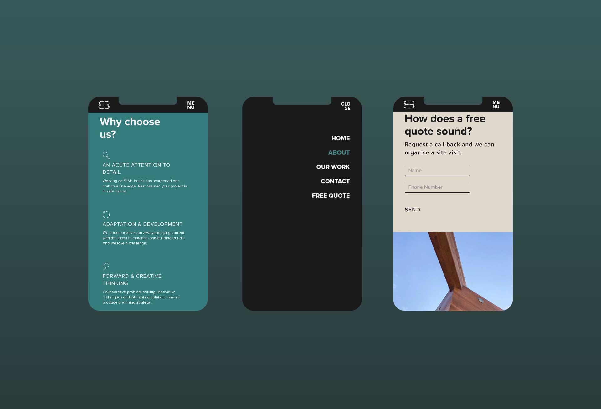 Mobile optimised website design