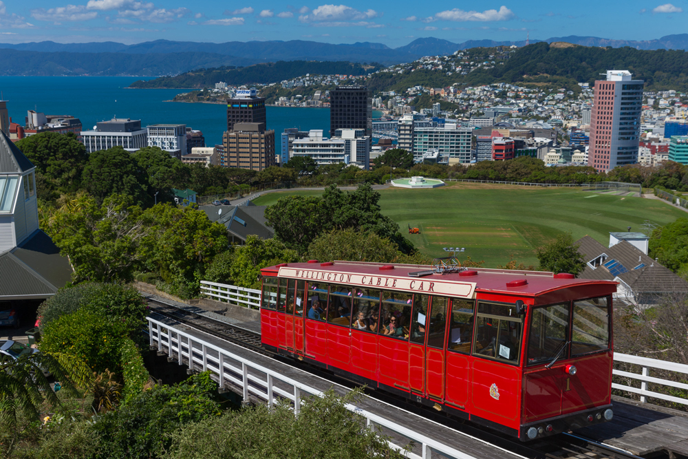 An overhead shot of Wellington Cable Car, showing the spectacular views of Wellington city and harbour.