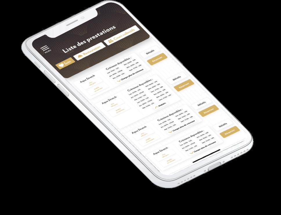 a 3d iphone mockup of a Molitor app screen