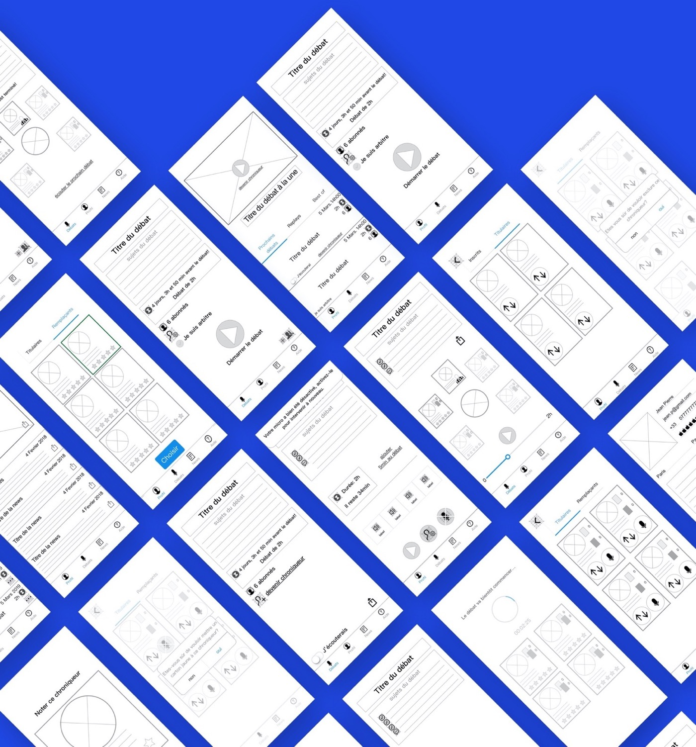 image showing some wireframes designed for the Blablafoot app