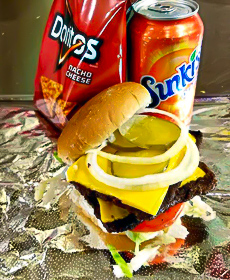 Double burger, with bag of chips and can of soda