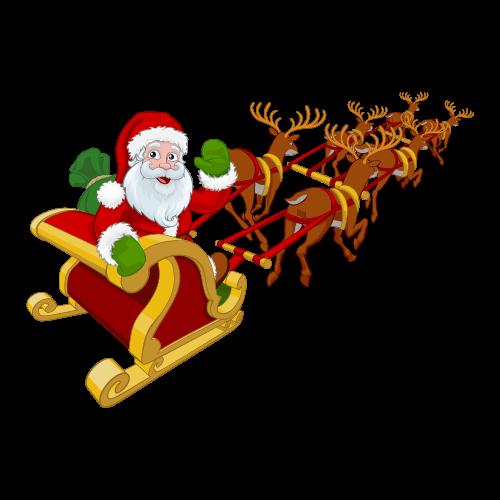 Santa Claus in sleigh being pulled by reindeer.
