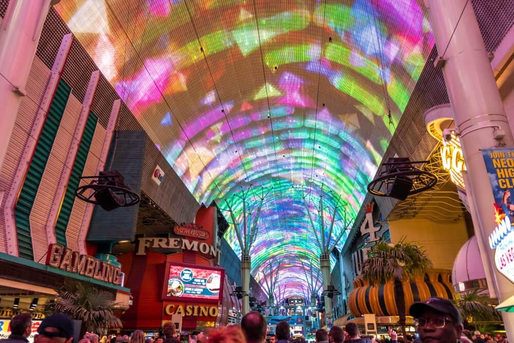 Bright neon lights on casino ceiling