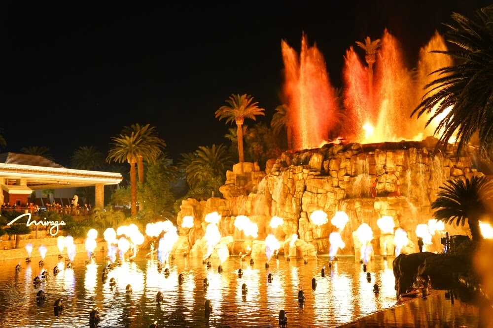 Water and light show that looks like a volcano erupting