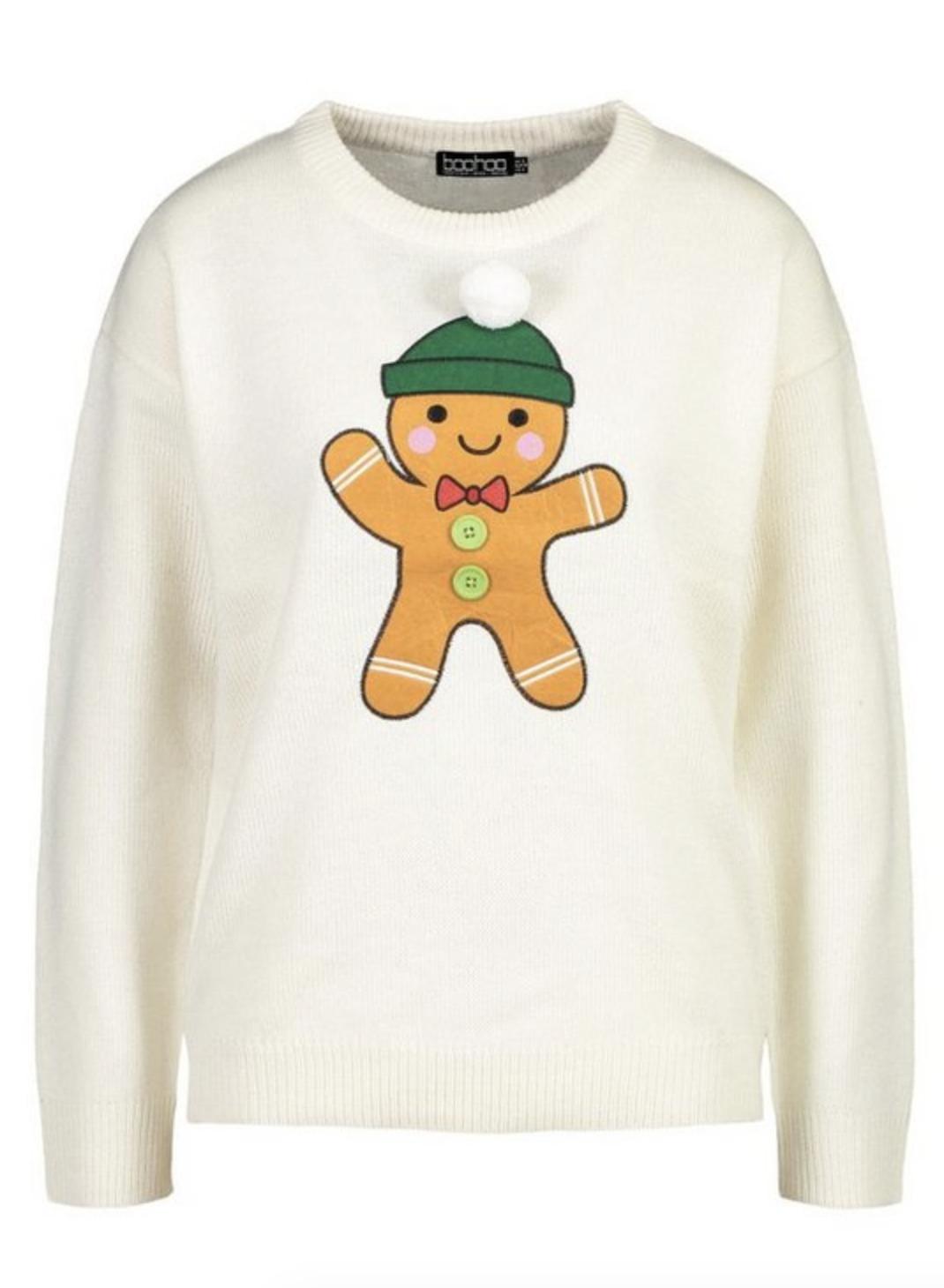 Boohoo gingerbread man sweater