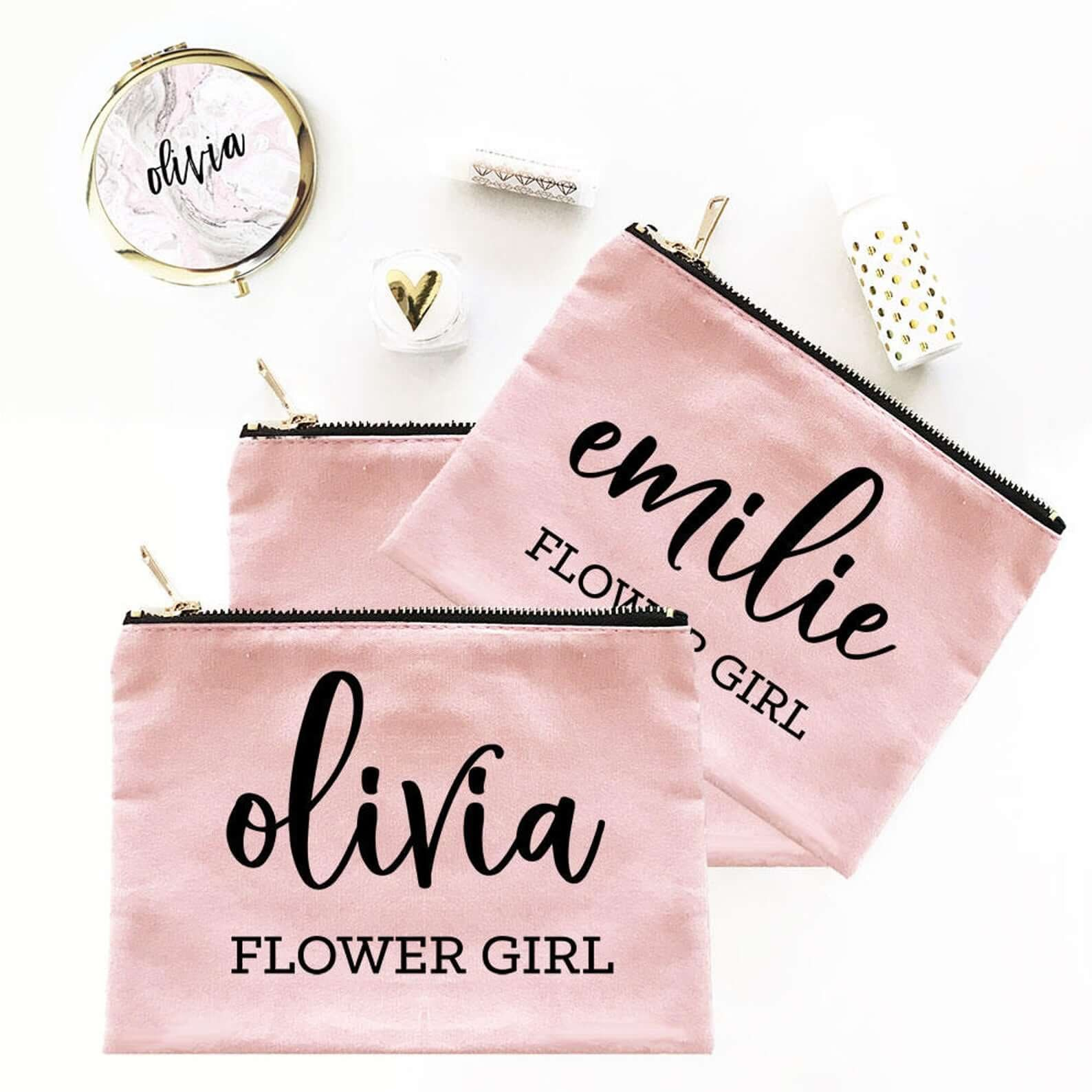 Flower girl bag with name on it