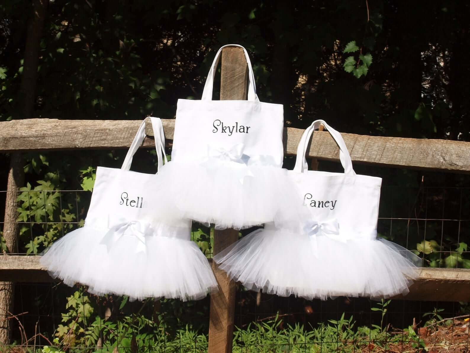 Personalized tote with a tutu sewn onto it