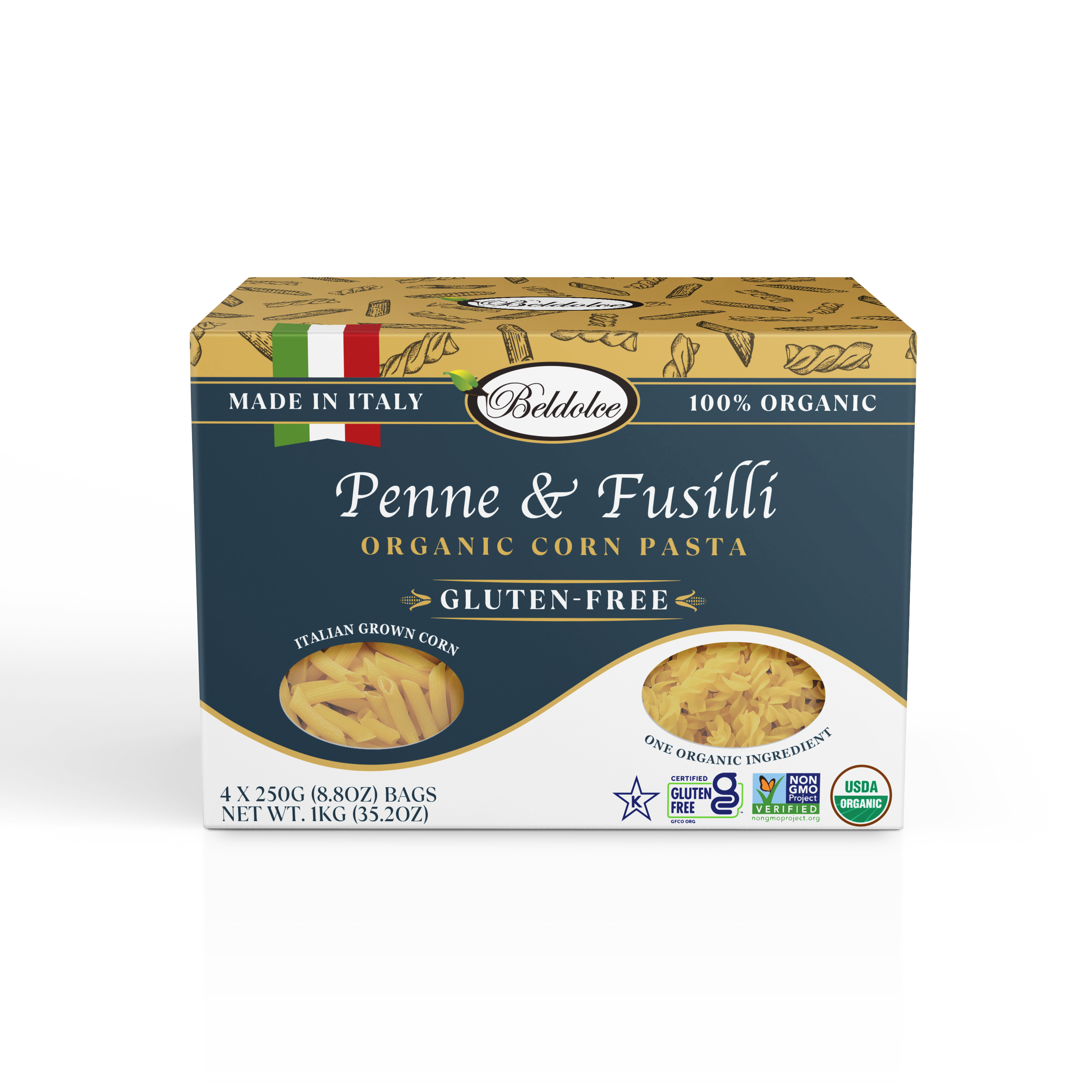 Penne & Fusilli 4-Pack elegant render of the front of the box