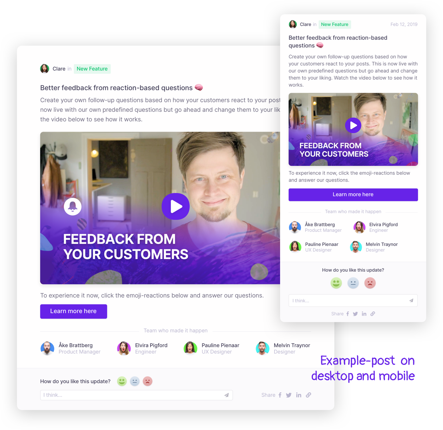 Example post from ProductVoice