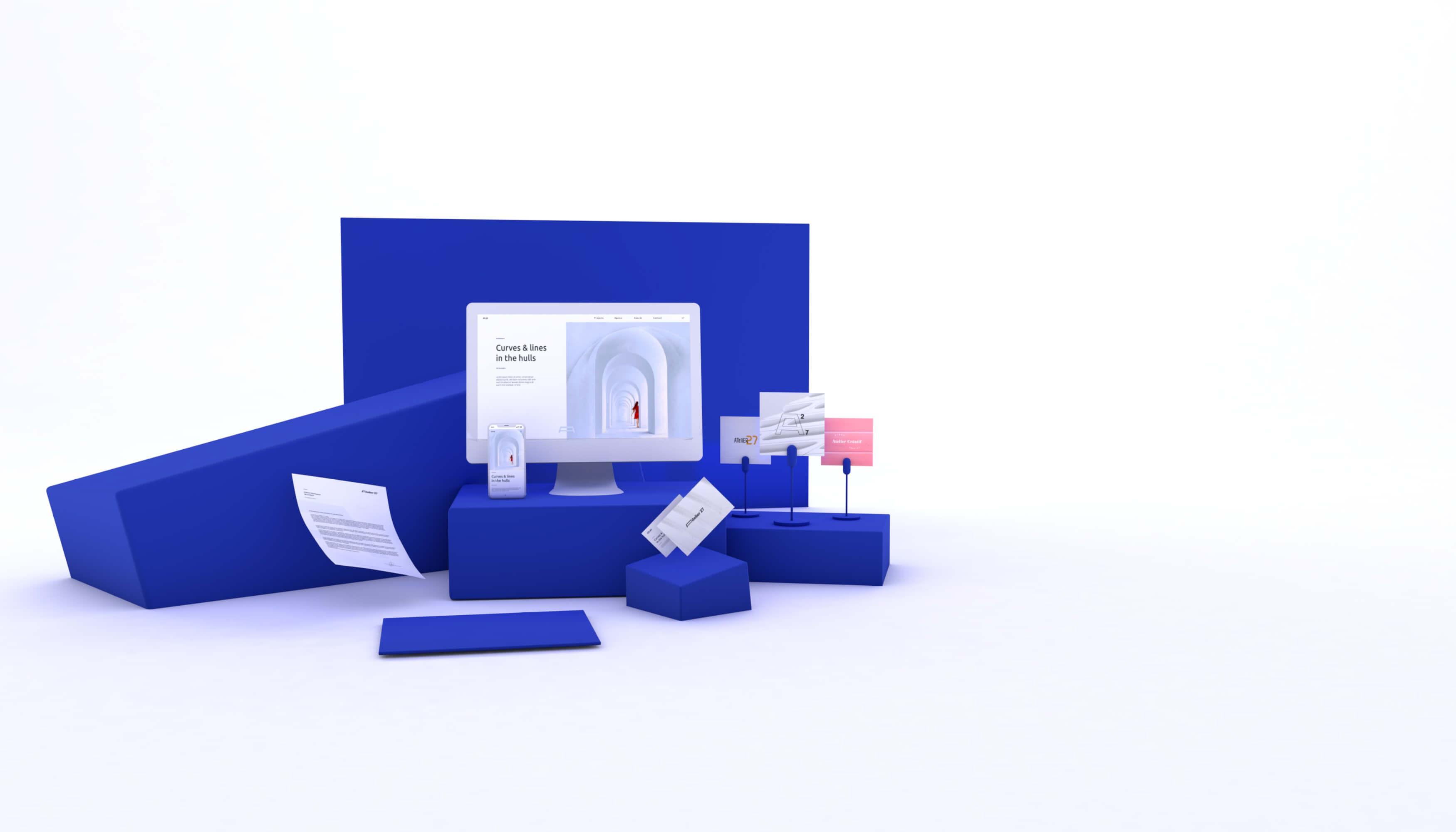 Présentation du pack essentiel création d'entreprise comprenant logo, site internet, carte de visite.