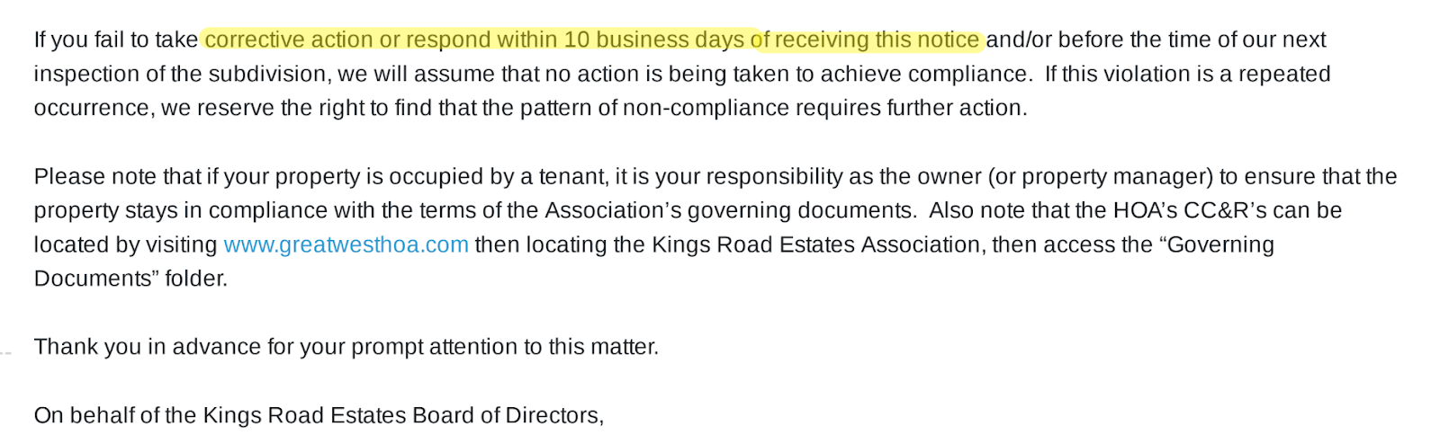 Another HOA letter example.