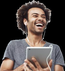 Man listening to translated audio on ipad
