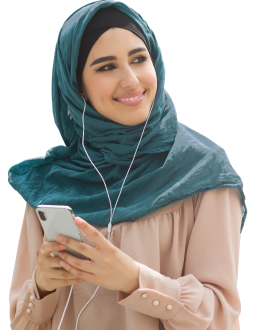 Woman listening to translated audio in ipad