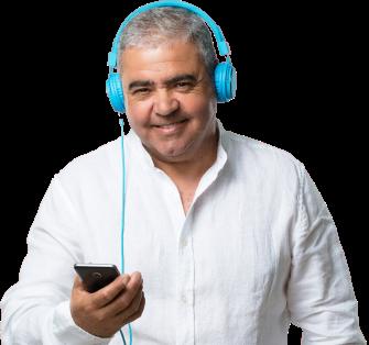 Man reading closed captions on phone