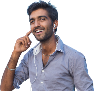 Man listening to translated audio on phone