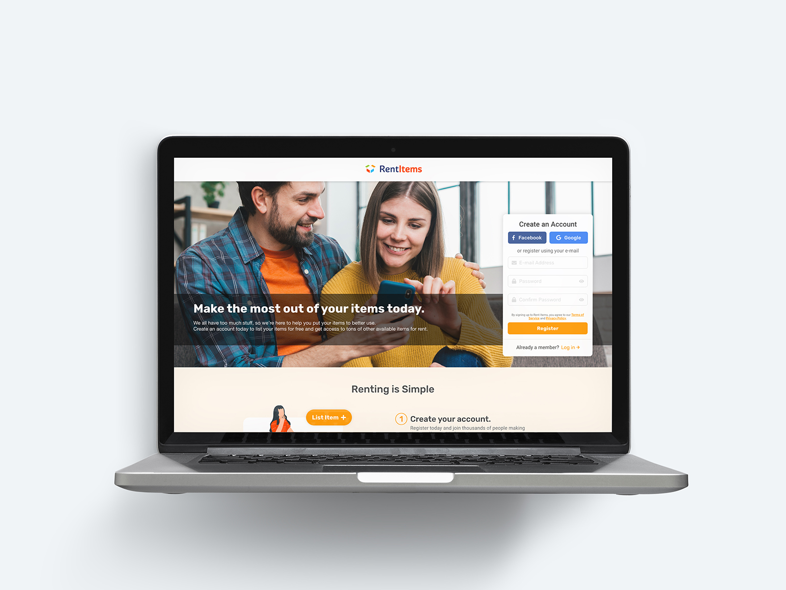 A laptop showing the user interface of rental marketplace home page