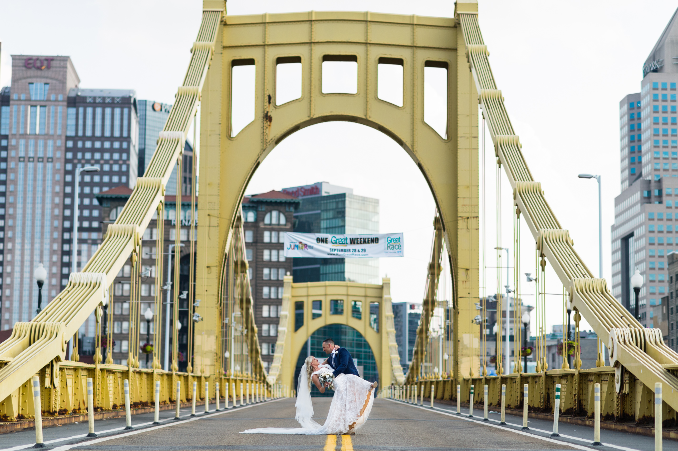 Pittsburgh Wedding Photographer Bride & Groom Clemente Bridge