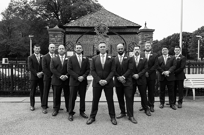 Pittsburgh Wedding Photographer Groomsman Black and White