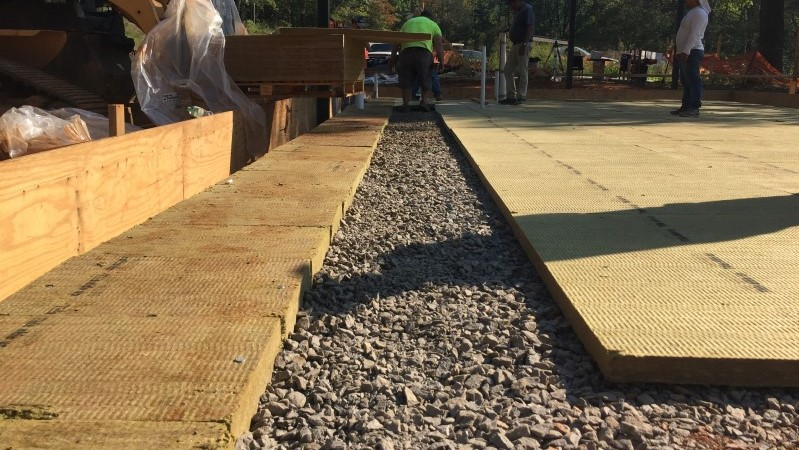 once that was really well compacted we dug our trenches for our the turn-down portion of our slabs