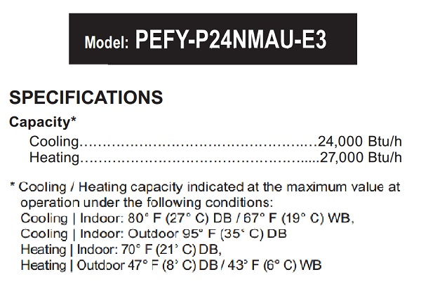 VRF Mini-Split Heat Pumps PEFY-P24NMAU Capacity