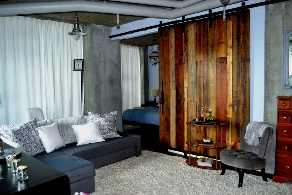 Barn Door Architects Condo Living Room