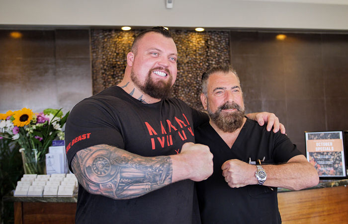 Eddie Hall with Dr. Cona