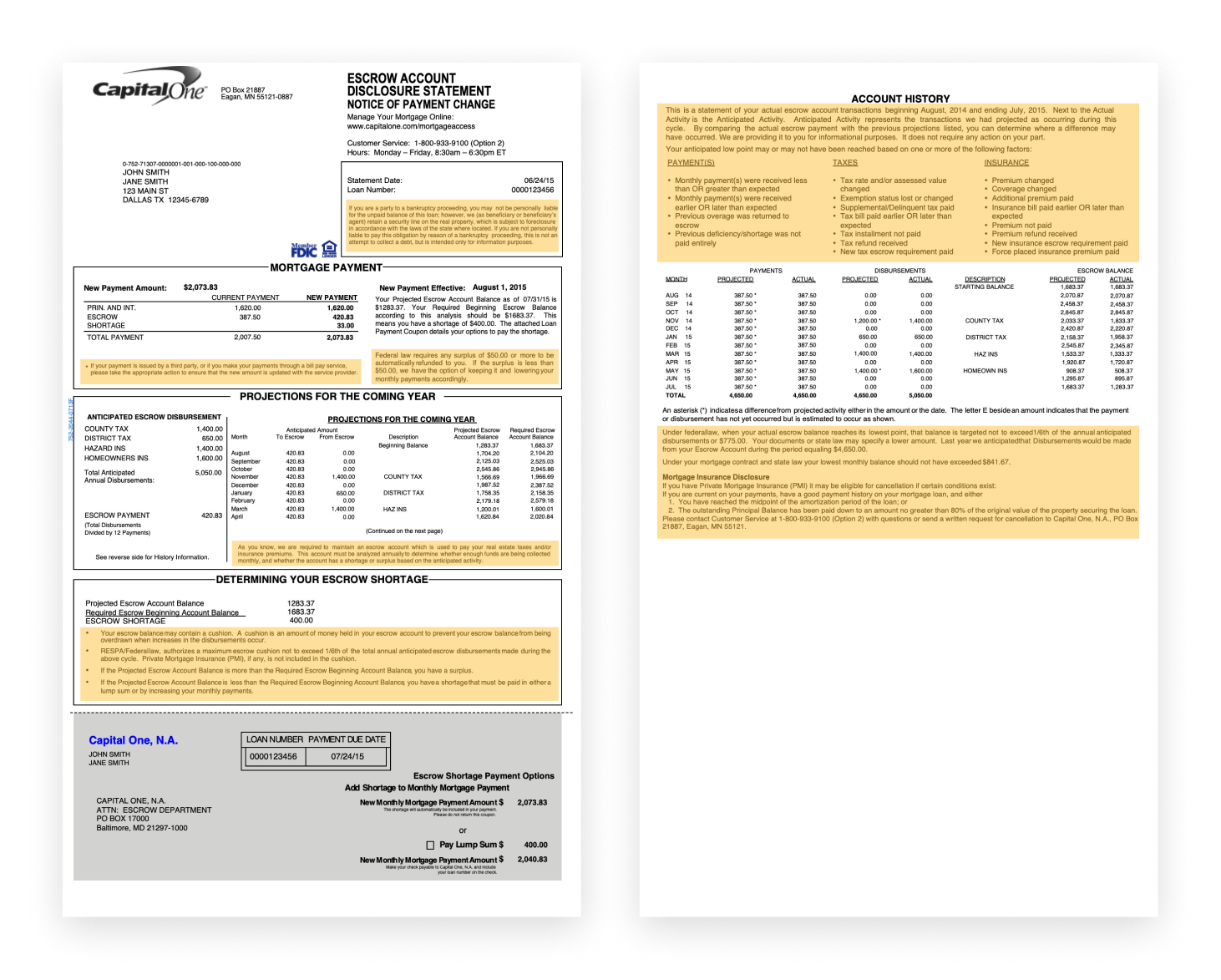 the old version of the escrow analysis statement with disclaimers highlighted