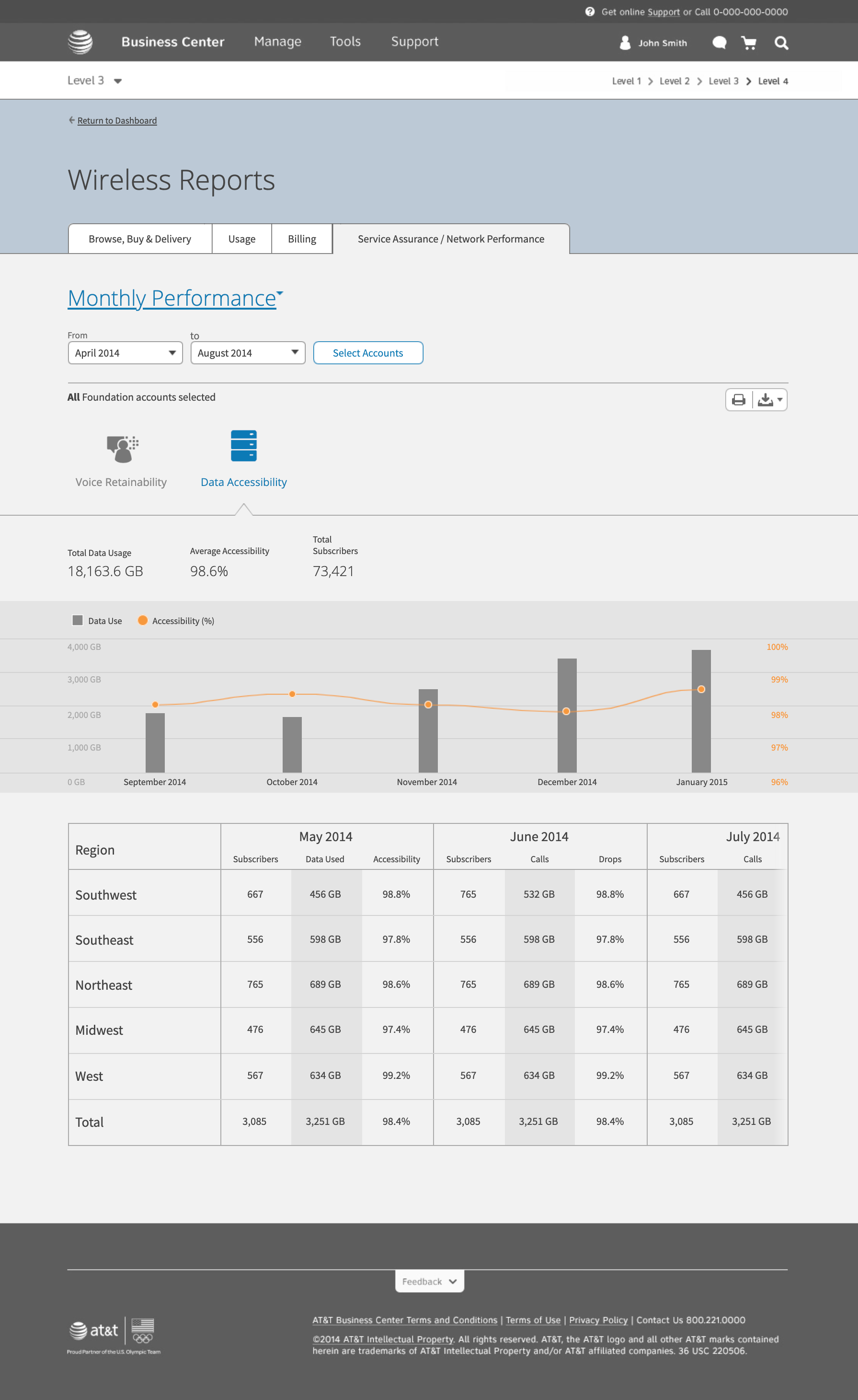 data accessibility view of the monthly performance report