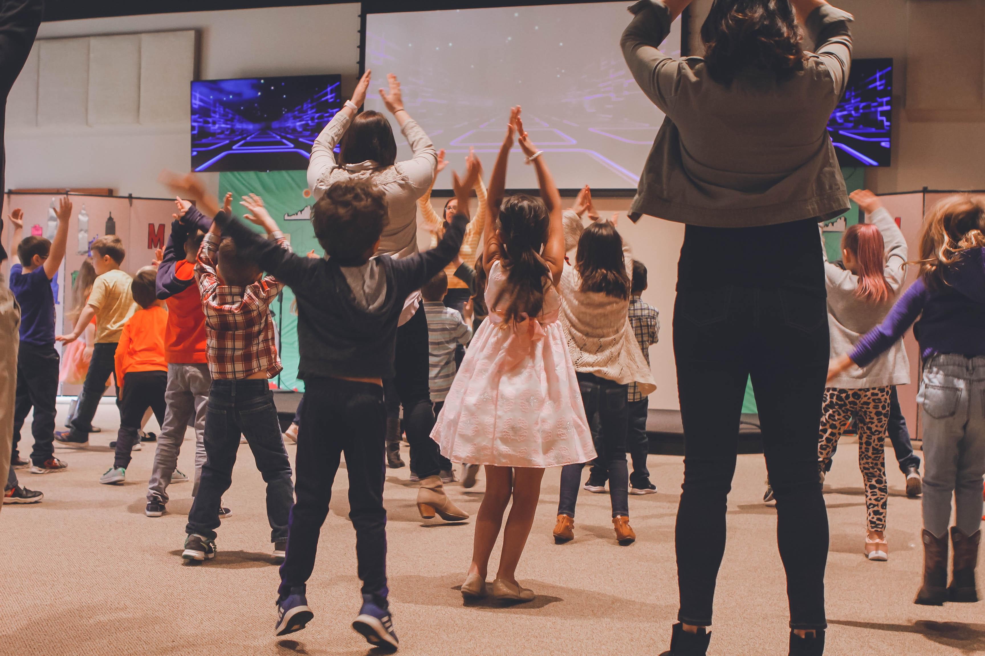 Child having fun during church event
