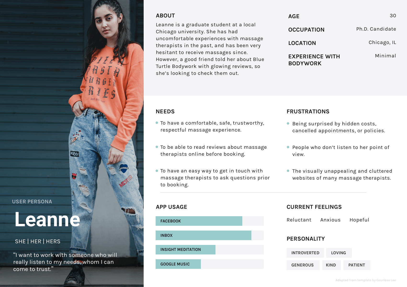 Document showing a person in their 20s named Leanne, who represents a target audience group. The document includes a bio and personality information about this hypothetical character.