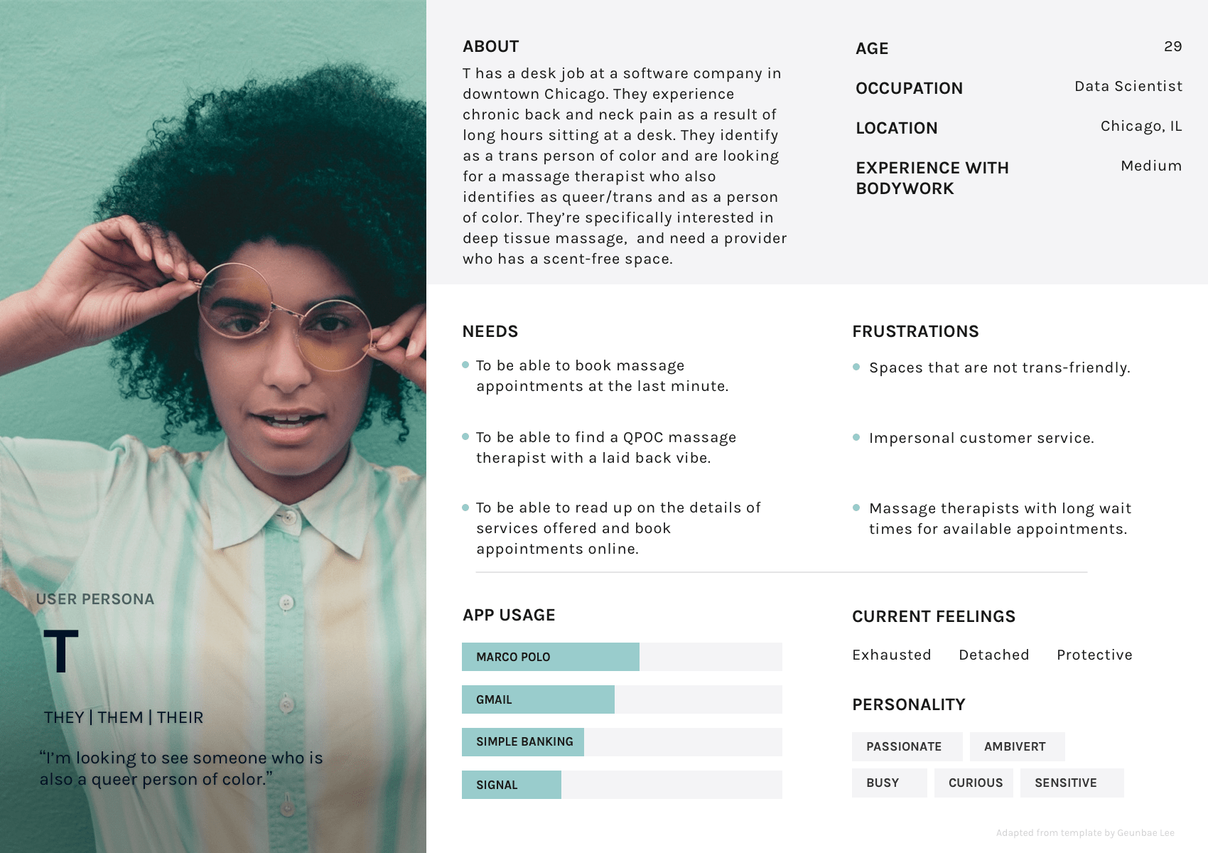 Document showing a persona in their late 20s named T. This persona represents a target audience group. The document includes a bio and personality information about this hypothetical character.