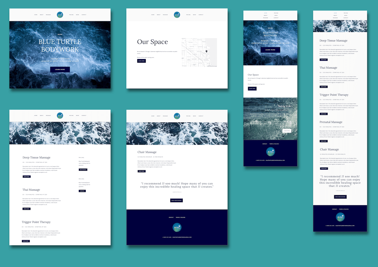A set of high-fidelity mockups showing the Home page and Services page, in desktop and tablet views.