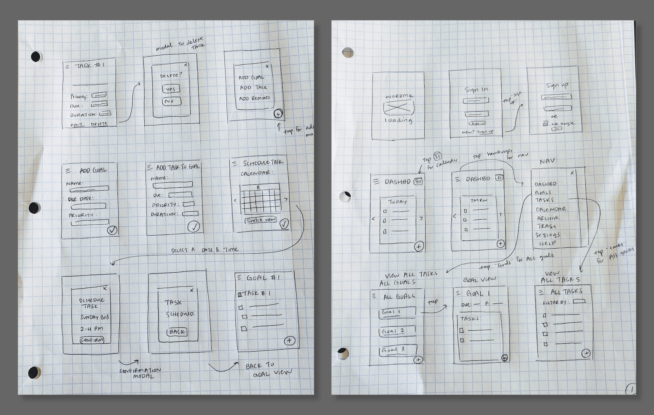 Two sets of handwritten sketches of app screens, with arrows and annotations connecting screens to one another.