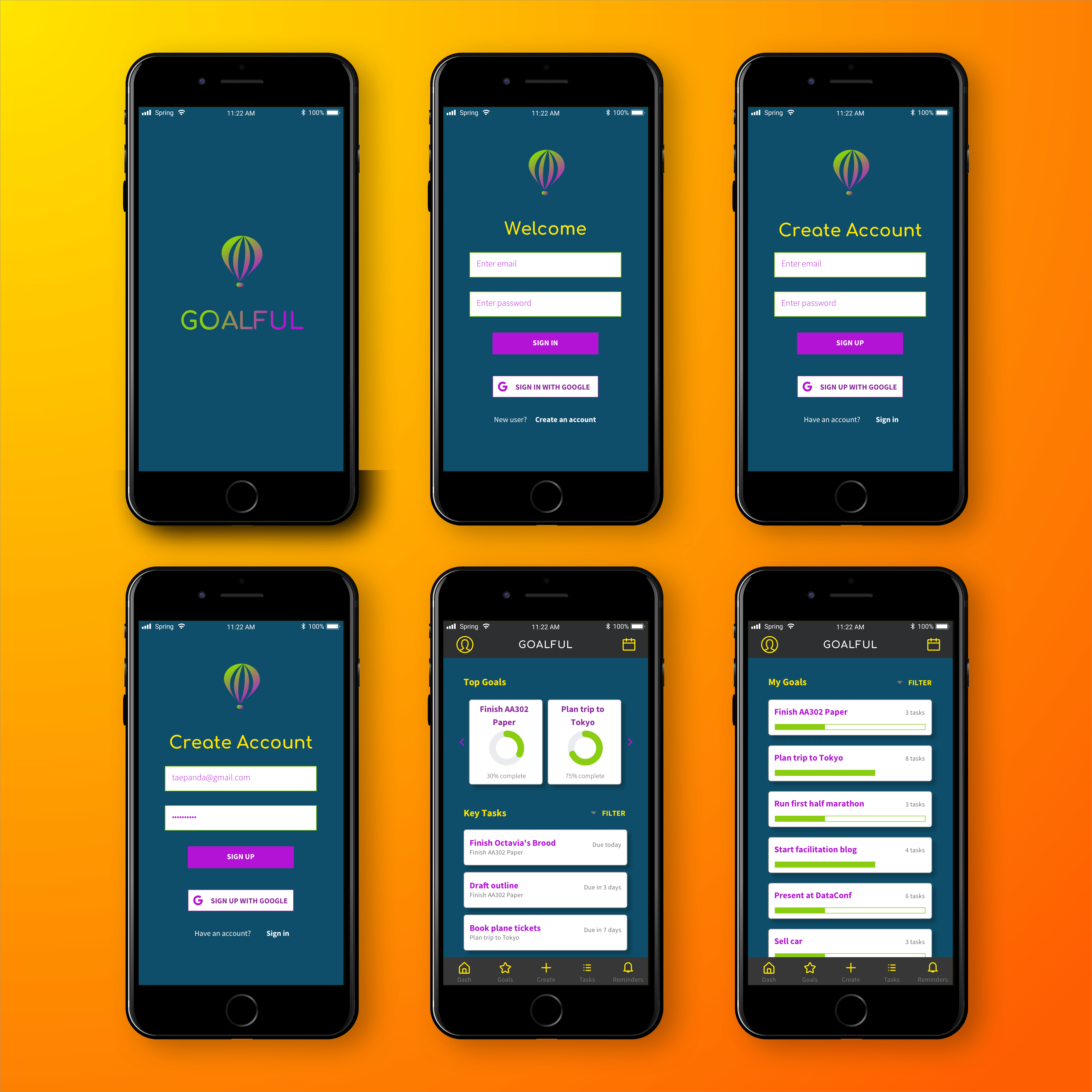 Set of six high-fidelity, full-color mockups of the application's key screens, including a splash screen, signup and login, and dashboard.