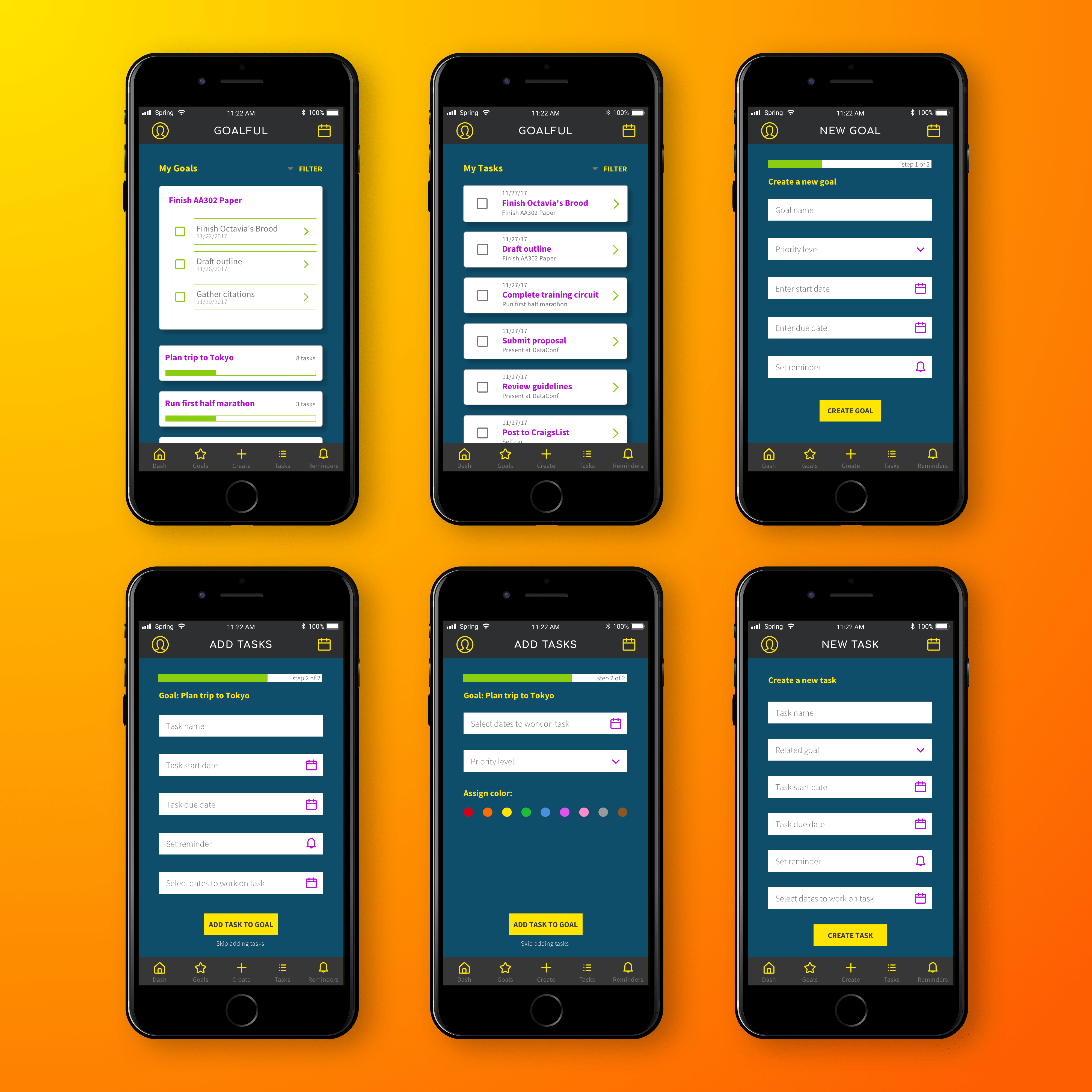 Set of six high-fidelity, full-color mockups of the application's key screens, including dashboard views, and screens for adding goals and tasks.