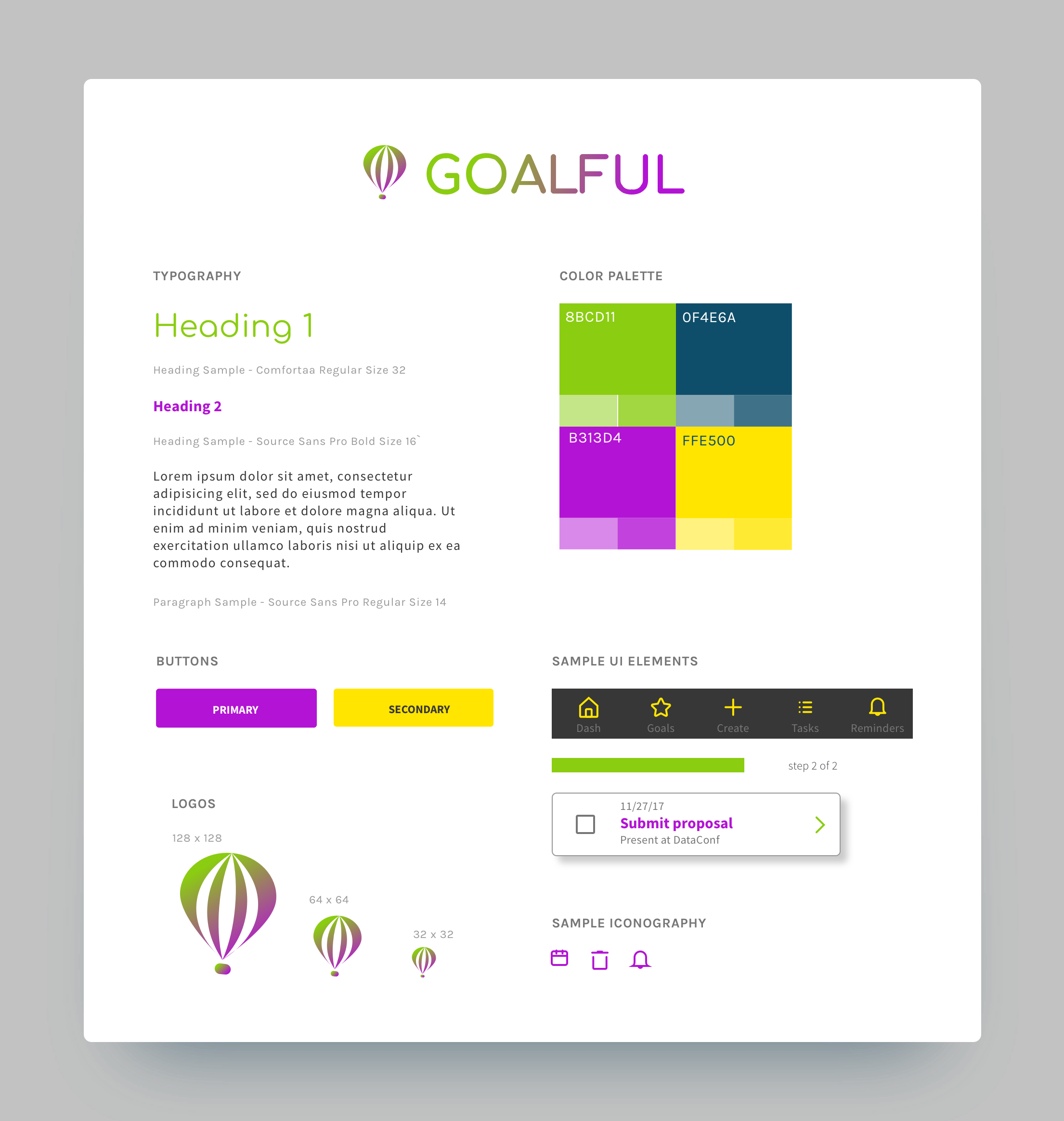 Document demonstrating the proposed logo and wordmark, typography, color palette, and sample icons.