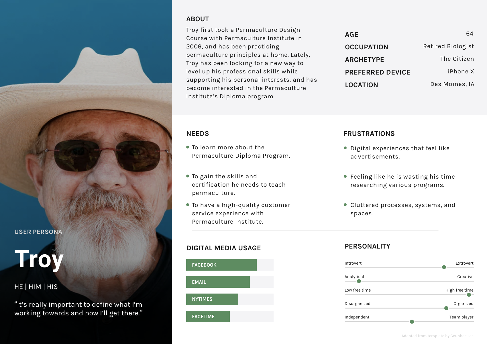 Document showing an older man in his 60s wearing a hat and sunglasses. The persona represents one user group of people specifically interested in Permaculture Institute.