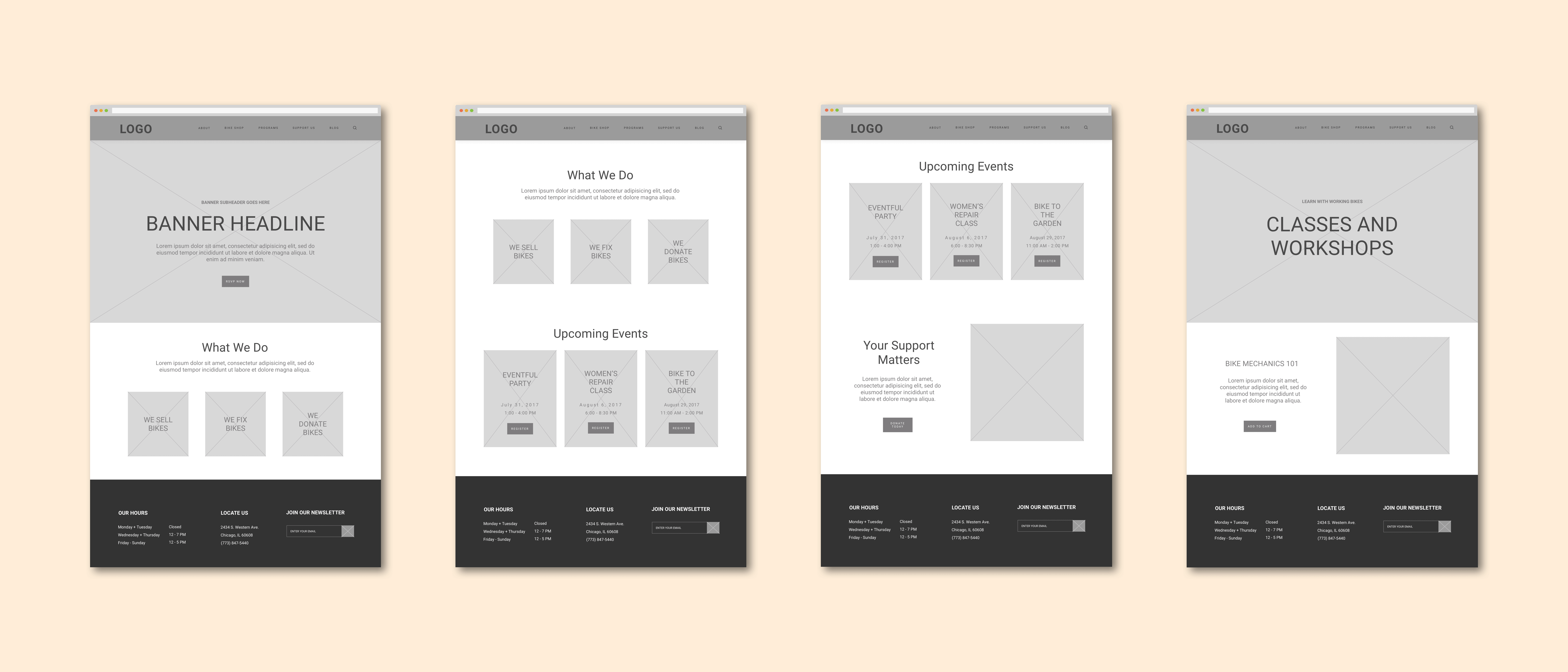 A set of four mid-fidelity, greyscale wireframes representing key pages of the website, including the home page and a page for classes and workshops.