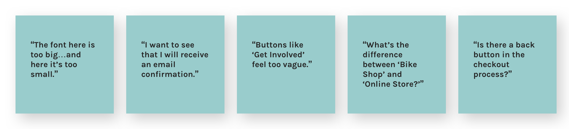 A set of five blue boxes containing quotes from usability testing participants.