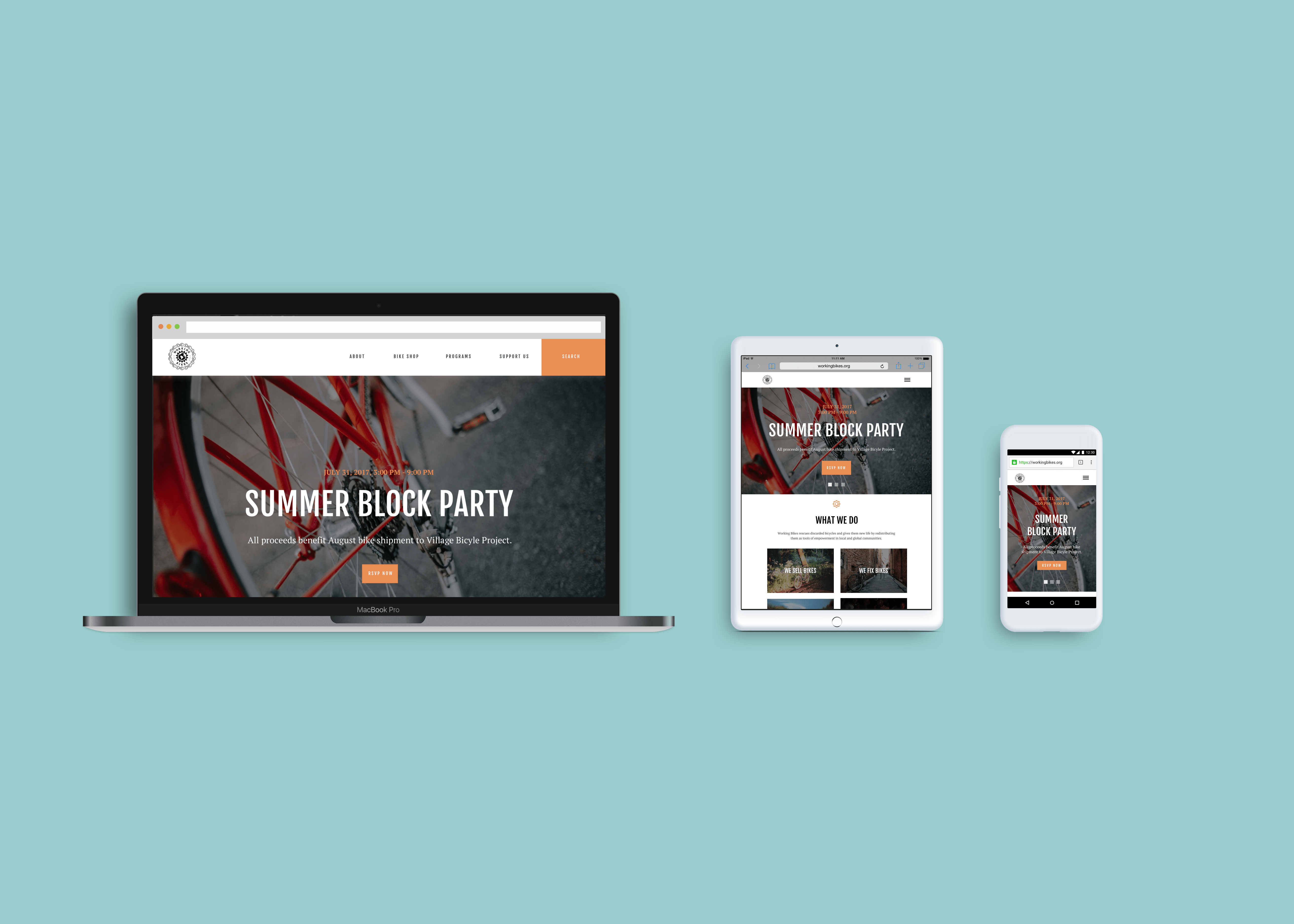 A set of four high-fidelity, full color wireframes representing the website on desktop, tablet, and mobile screens.