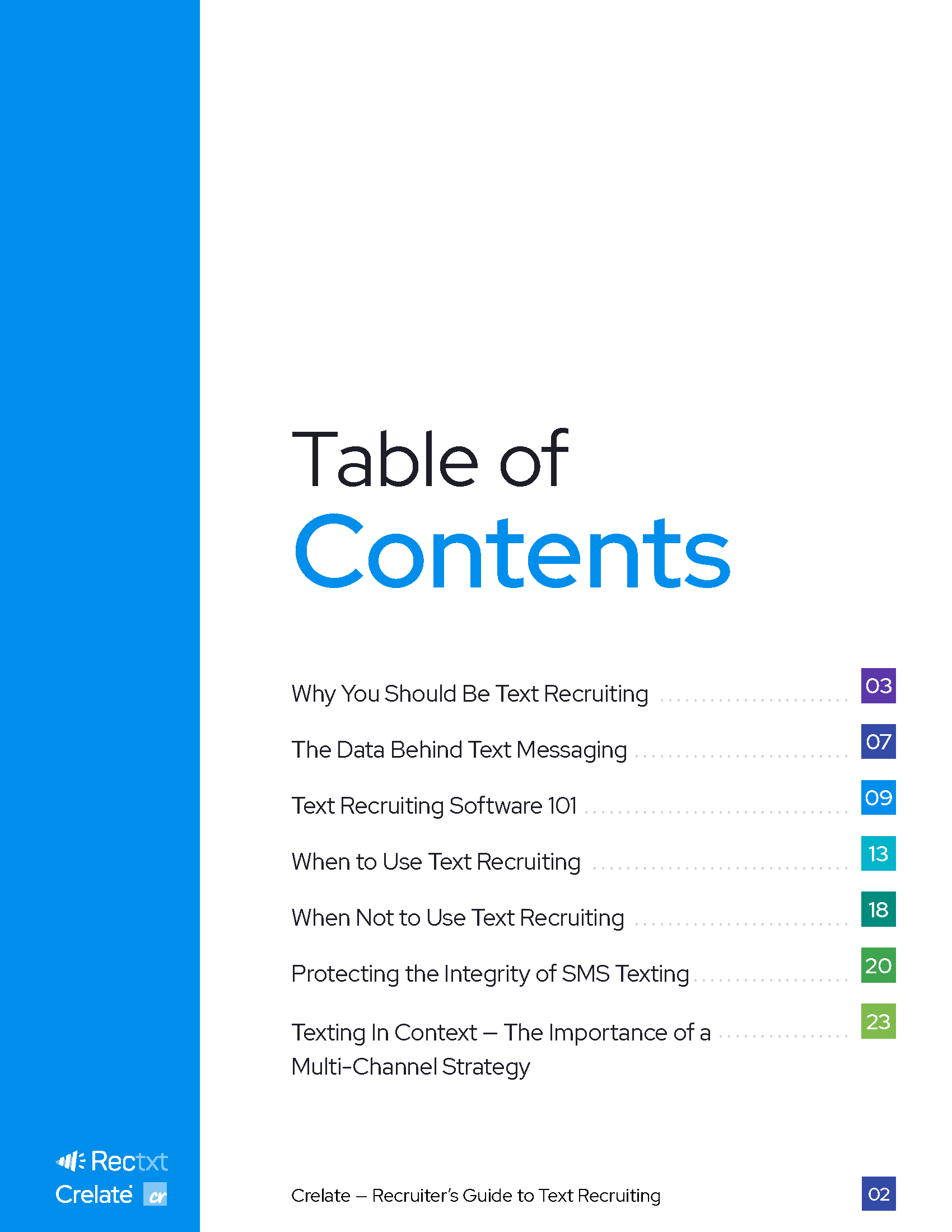 Rectxt + Crelate - Table of Contents of Recruiter's Guide to Text Recruiting