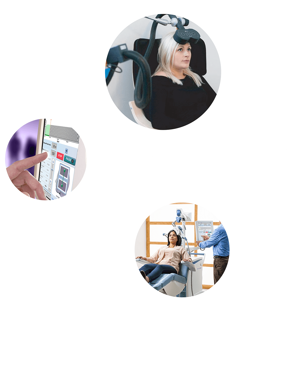 A web of photos showing TMS therapy machines in use