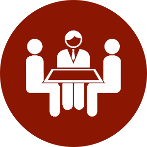 Professionals gathered around a table icon