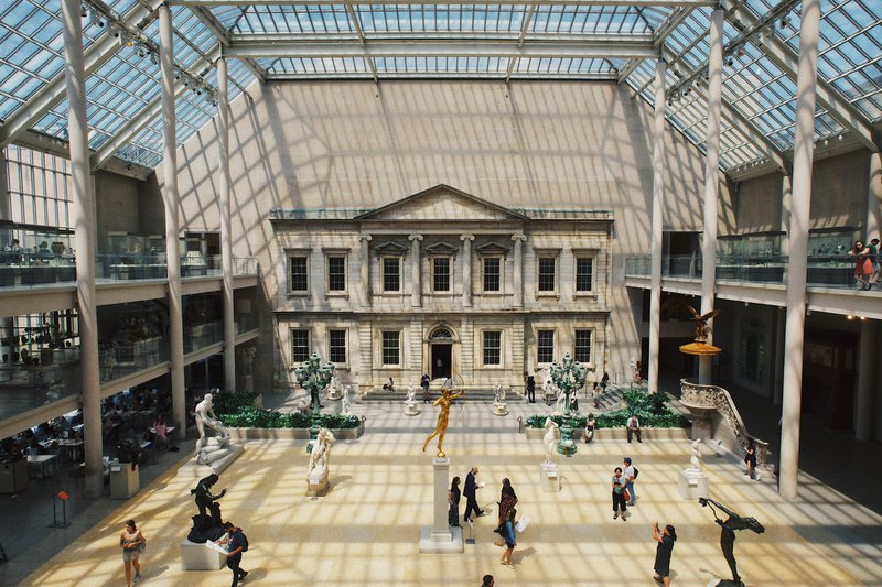 Art gallery with glass ceilings