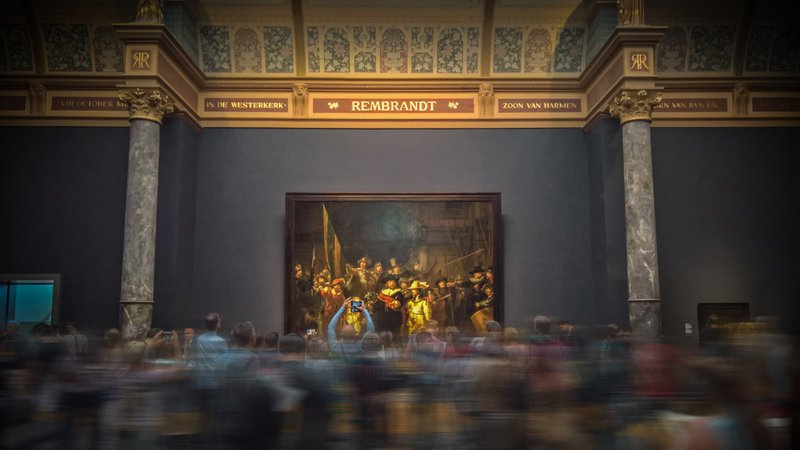 The photo I captured at the Rijksmuseum in Amsterdam. Painting is called The Night Watch.