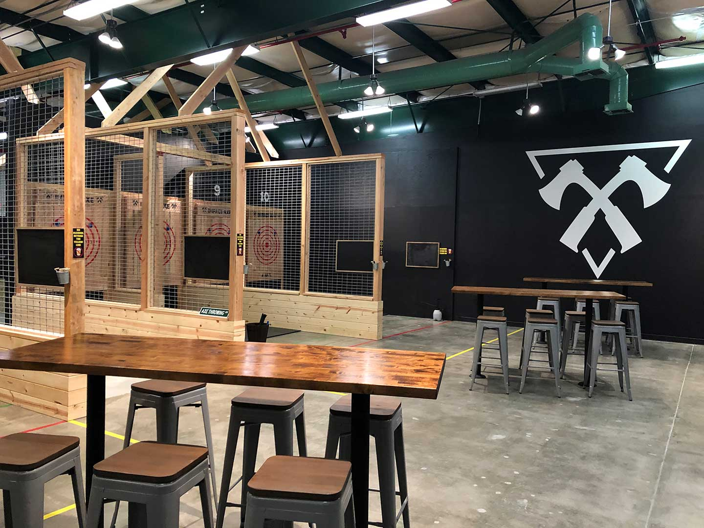 The main axe throwing area.