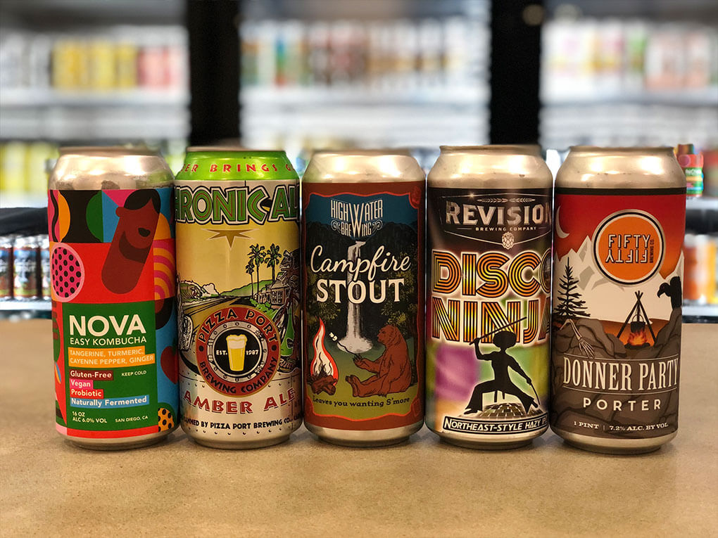 A variety of craft beer.
