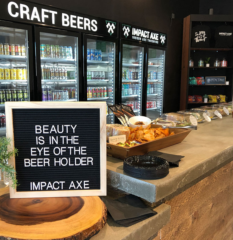 The food counter at Impact Axe